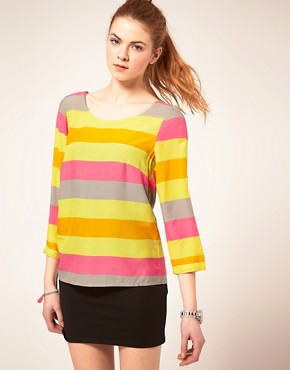 Image 1 ofVila Top In Sorbet Stripes