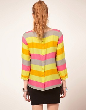 Image 2 ofVila Top In Sorbet Stripes