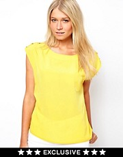 Oasis Exclusive Button Shoulder Top