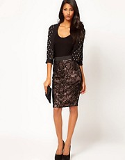 Lipsy Burn Out Pencil Skirt