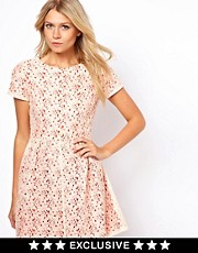 Oasis Lace Skater Dress With Contrast Lining