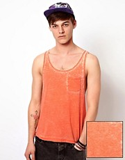 ASOS Vest With Extreme Racer Back And Burn Wash