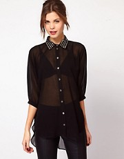 Warehouse Studded Collar Shirt