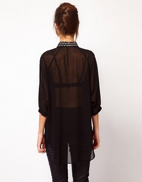 Image 2 ofWarehouse Studded Collar Shirt