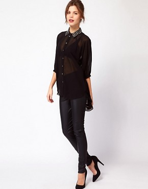 Image 4 ofWarehouse Studded Collar Shirt