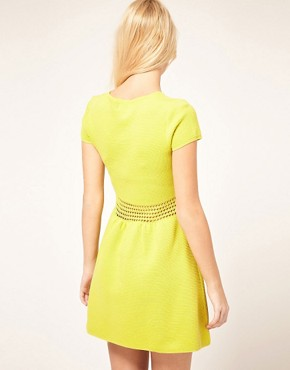 Image 2 ofASOS Fit And Flair Dress With Crochet Waist Band