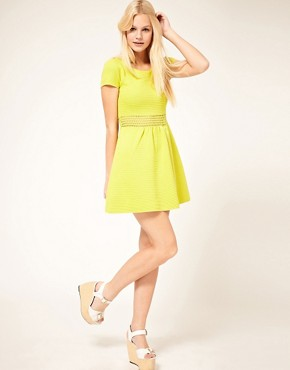 Image 4 ofASOS Fit And Flair Dress With Crochet Waist Band