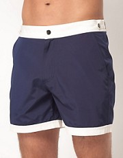 ASOS  Badeshorts mit farblich abgesetzten Bndchen an Taille und Saum