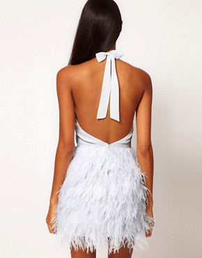 Image 2 of ASOS PETITE Exclusive Halter Dress With Embroidered Bodice And Feather Skirt