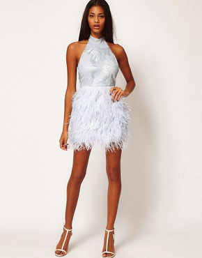 Image 4 of ASOS PETITE Exclusive Halter Dress With Embroidered Bodice And Feather Skirt