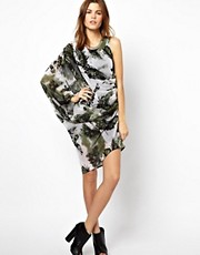 Religion Abracadabra Butterfly Print Assymetric Dress