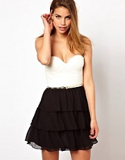 Elise Ryan Belted Lace Bandeau Dress with Ra Ra Skirt