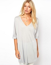 ASOS Premium Silk Mix T-Shirt with Drape V Neck