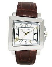 Ted Baker Square Face Leather Strap Watch TE1073