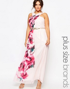 Little Mistress Plus Cross Front Maxi Dress With Floral Placement Print And Belt Detail