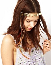 River Island Coin And Feather Head Band