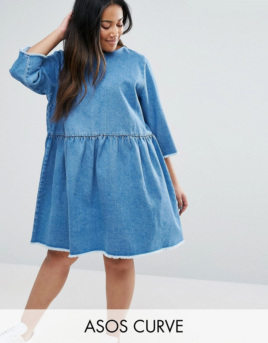 ASOS CURVE Denim Smock Dress In Midwash Blue - Blue