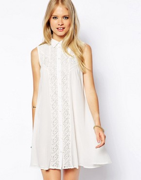 ASOS Sleeveless Swing Dress with Broderie Inserts