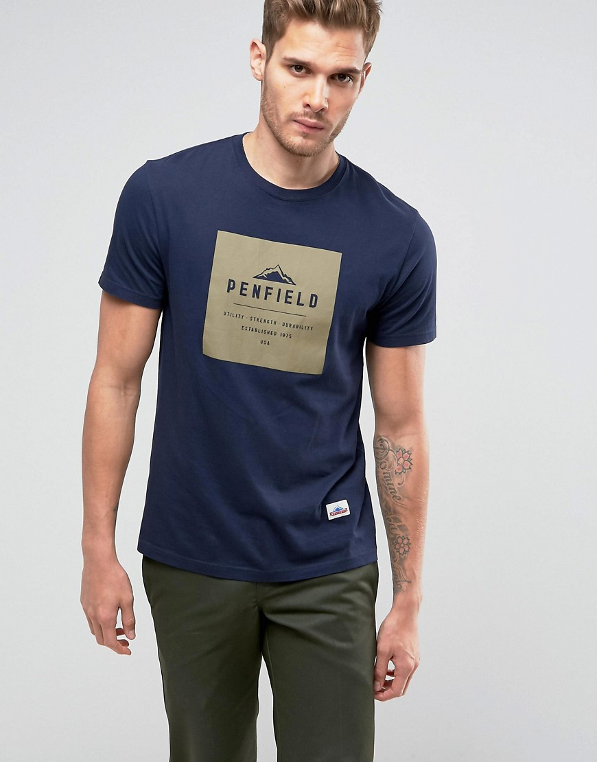 Penfield Brockton Logo T-Shirt Regular Fit in Navy - Navy