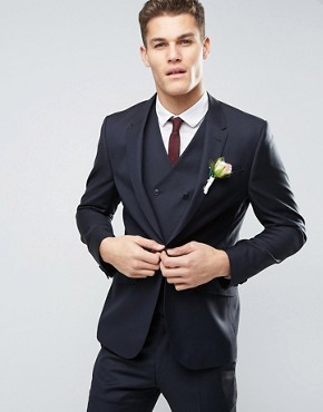 ASOS WEDDING Slim Suit Jacket in Navy 100% Wool