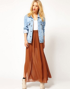 Image 1 ofMango Maxi Skirt With Side Splits