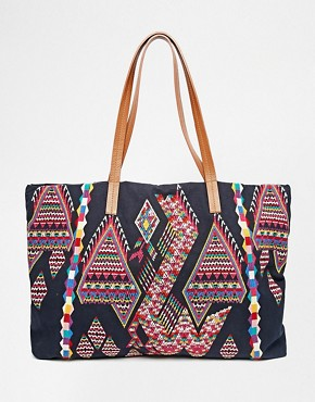 Star Mela Zuri Embroidered Bag with Leather Handles