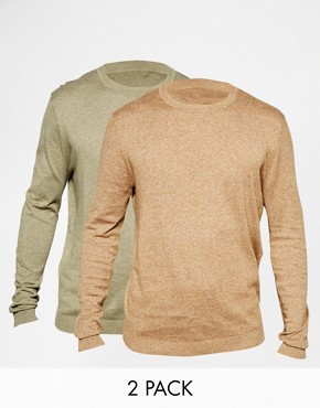 ASOS Cotton Crew Neck Jumper 2 Pack SAVE 17%