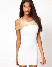 John Zack Sequin Top Pencil Dress