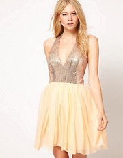 Love Sequin Halter Chiffon Tutu Dress
