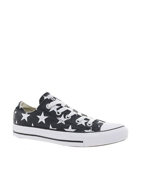 Image 1 ofConverse All Star Black Star Print Ox  Trainers