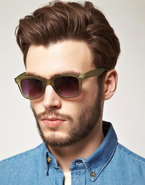 Image 3 ofASOS Matte Green Wayfarer Sunglasses