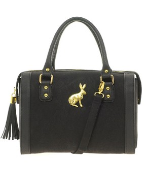 Image 1 of ASOS Tassel Bowler Bag With Rabbit Fitting
