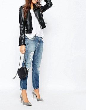 7 For All Mankind Slim Boyfriend Jeans With All Over Rips & Distressing