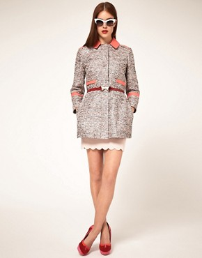 Image 4 ofASOS PETITE Textured Coat With Contrast Collar