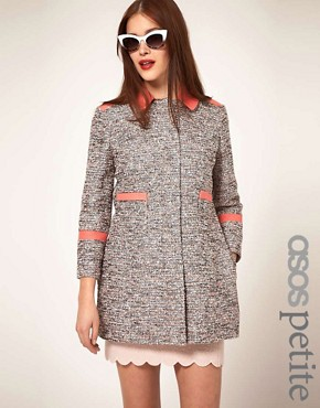 Image 1 ofASOS PETITE Textured Coat With Contrast Collar