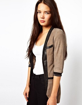 Image 1 ofCote By Improvd Betia Leather Blazer With Cropped Sleeves