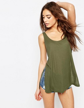 ASOS The Scoop Neck Vest In Slouchy Rib With Side Splits
