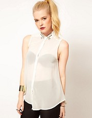 Hearts &amp; Bows Chiffon Studded Collar Blouse