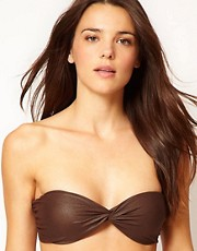 ASOS Leather Look Twist Bandeau Bikini Top