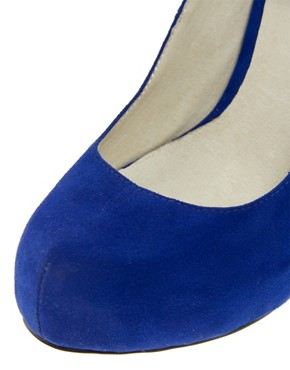 Image 4 ofFaith Cadbury Blue Platform Court Shoes