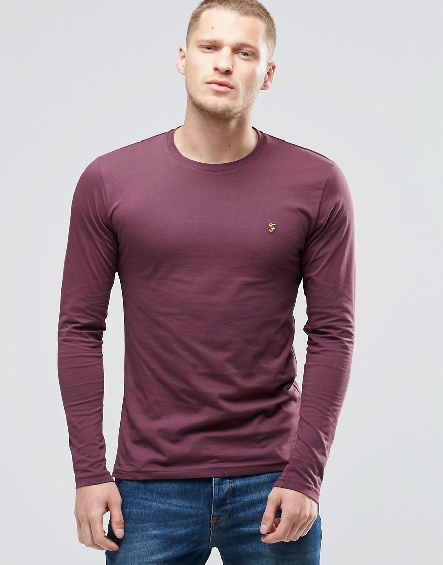 Farah Long Sleeve T-Shirt With F Logo In Slim Fit In Bordeaux - Red