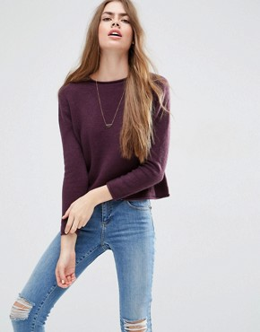 ASOS Cropped Jumper with Rolled Edge Detail in Fluffy Yarn