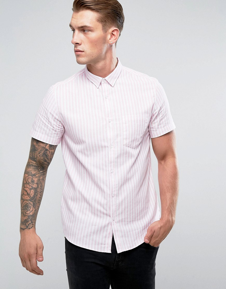 New Look Regular Fit Shirt In Pink And White Stripe - Light pink