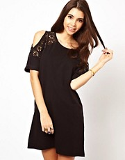 ASOS  T-Shirt Dress With Cold Shoulder And Lace Panels