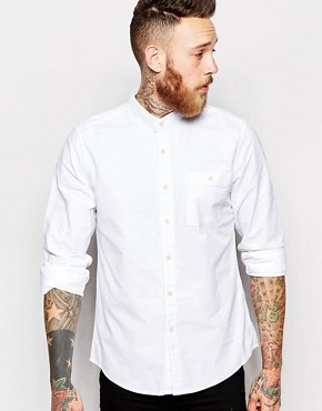 ASOS Oxford Shirt In White With Long Sleeves And Grandad Collar