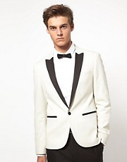ASOS Slim Fit Tuxedo Suit Jacket In White