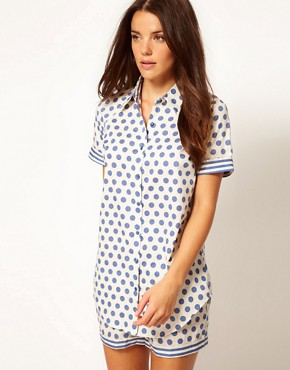 Image 1 ofVero Moda Intimates Althea Blue Night Shirt
