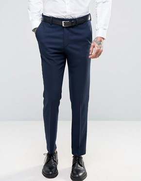 ASOS Skinny Suit Trouser In Navy Micro Texture