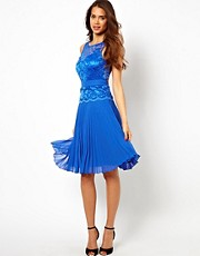 Elise Ryan Lace Midi Skater Dress with Pleated Skirt