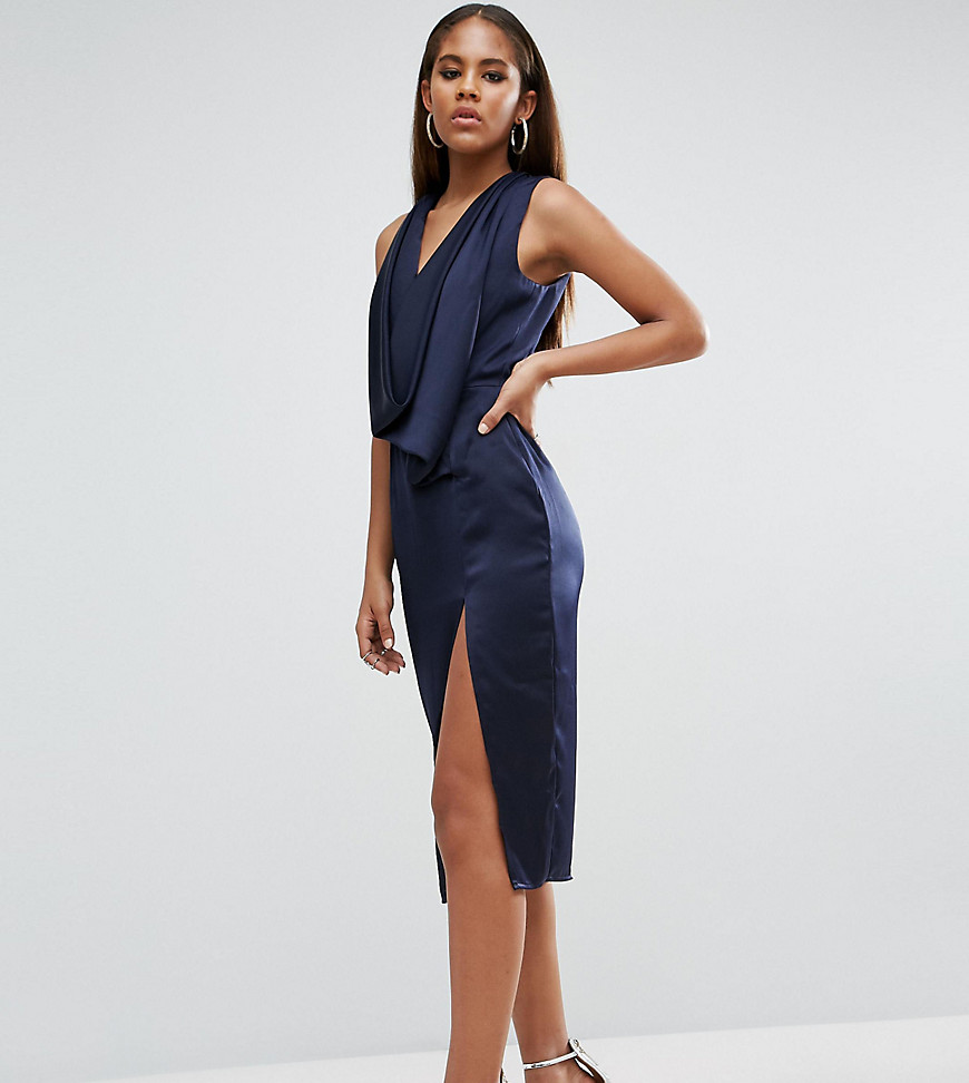 ASOS TALL Extreme Cowl Front Cut Out Back Midi Dress